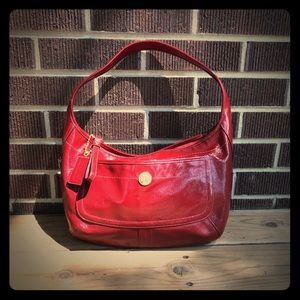 Coach Red Shiny Leather Hobo